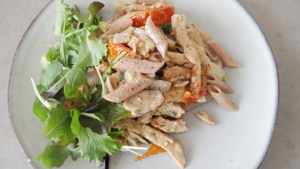 Pasta met plantaardige kip (recept)